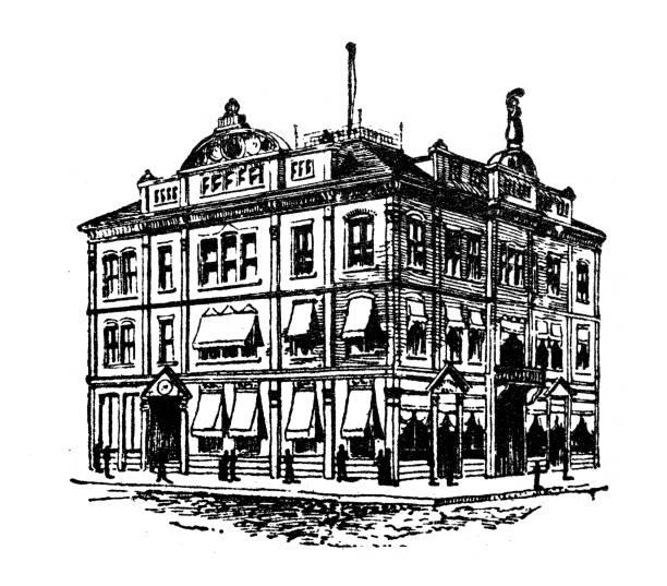 antique illustration of usa: mobile, alabama - cotton exchange - alabama stock illustrations