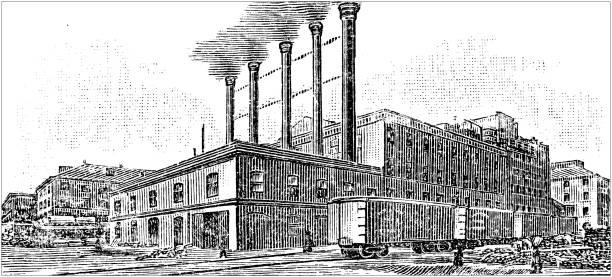 illustrazioni stock, clip art, cartoni animati e icone di tendenza di antique illustration of usa: new orleans, louisiana - sugar refinery - zuccherificio