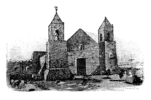 Antique illustration of USA: Santa Cruz, California - Mission Church