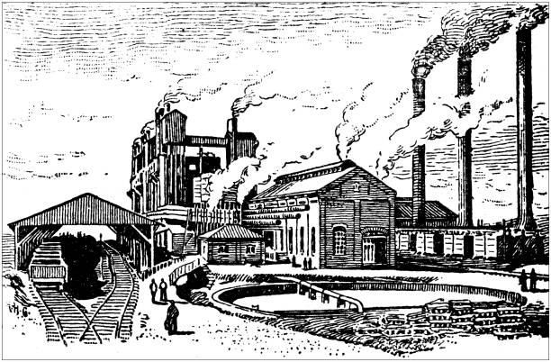 antique illustration of usa: sheffield, alabama - iron and coal factory - alabama stock illustrations