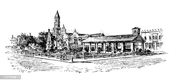 Antique illustration of USA: St Augustine, Florida - Cathedral and Slave Market