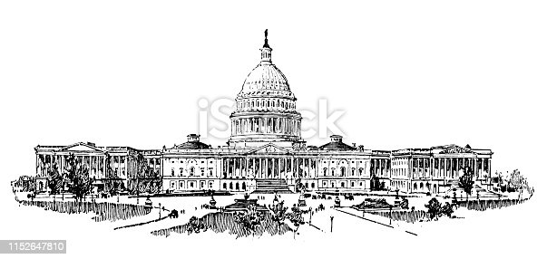 Antique illustration of USA: The Capitol, Washington