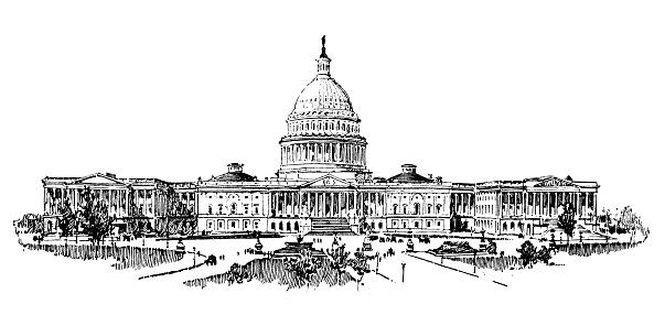 Antique illustration of USA: The Capitol, Washington