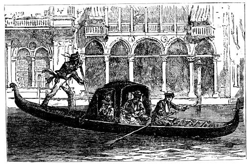 Antique illustration of Venetian Gondola