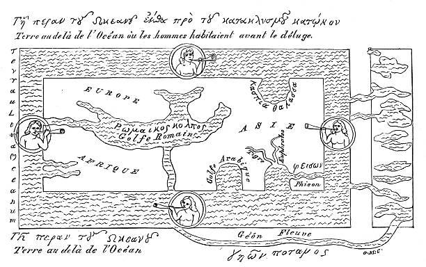 Antique illustration of VERY old world map (around year 600) vector art illustration