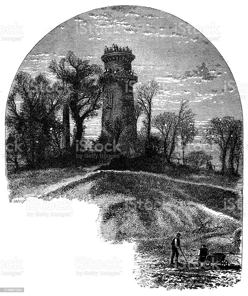 Antique illustration of Washington Tower, Mount Auburn Cemetery vector art illustration