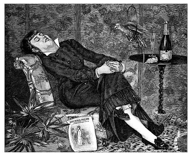 stockillustraties, clipart, cartoons en iconen met antique illustration of woman sleeping on her armchair - woman home magazine