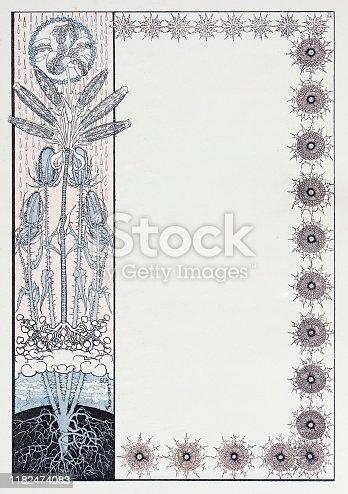 Antique illustration: Ornate book frame decoration