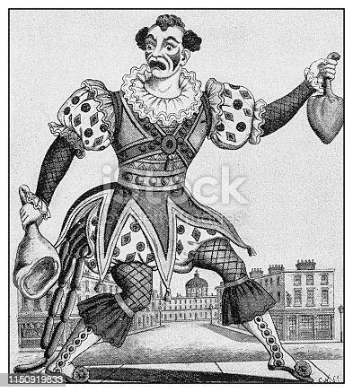 Antique illustration: Paul Herring as Clown