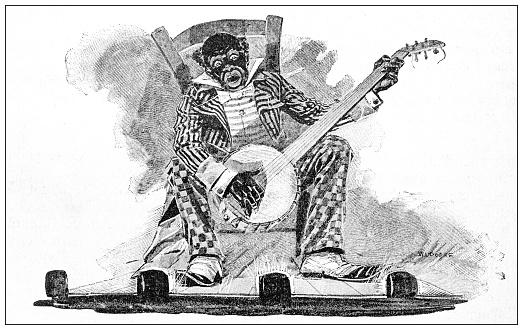 Antique illustration: Playing banjo