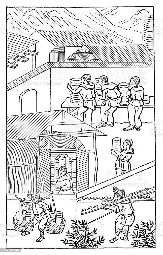 Antique illustration: porcelain production in China (11 of 16 images) vector art illustration
