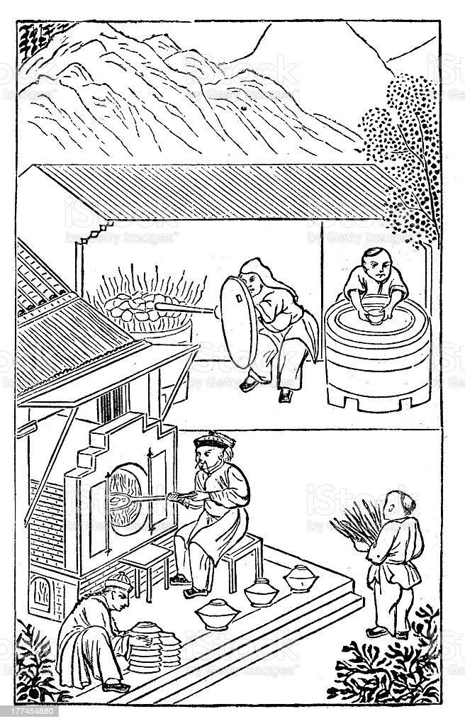 Antique illustration: porcelain production in China (14 of 16 images) vector art illustration