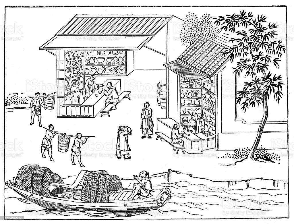 Antique illustration: porcelain production in China (16 of 16 images) vector art illustration