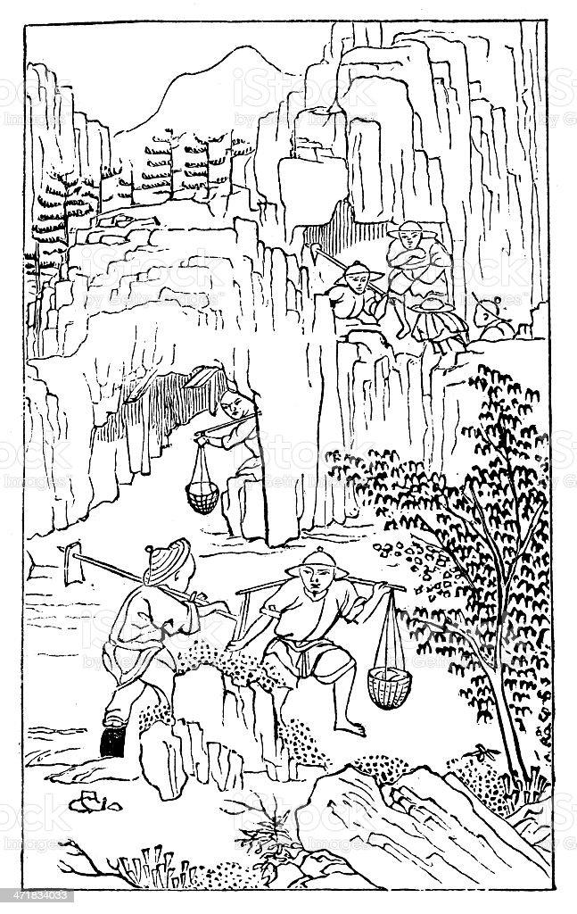 Antique illustration: porcelain production in China (1 of 16 images) vector art illustration