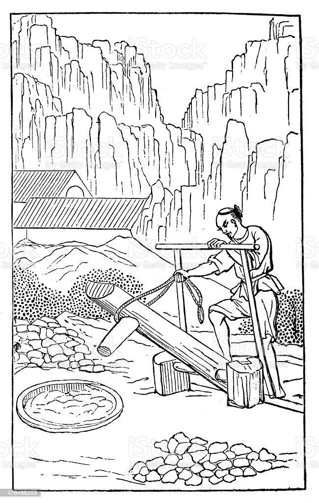 Antique illustration: porcelain production in China (3 of 16 images) vector art illustration