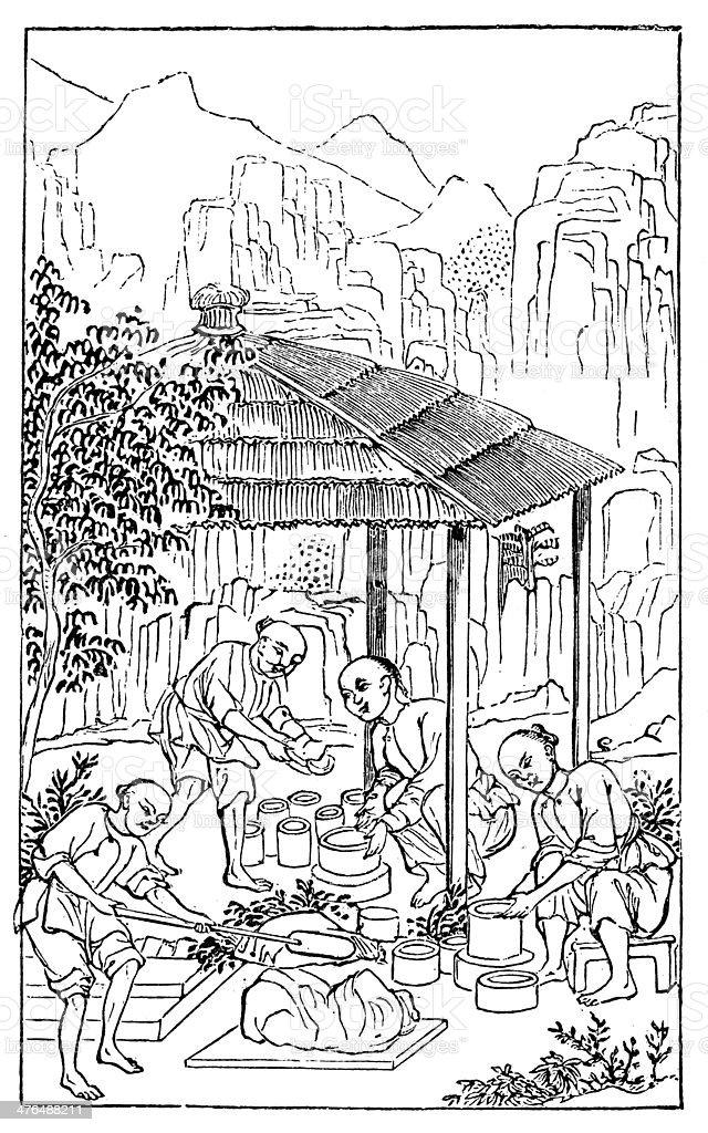 Antique illustration: porcelain production in China (4 of 16 images) vector art illustration