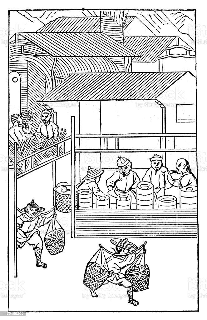 Antique illustration: porcelain production in China (12 of 16 images) vector art illustration