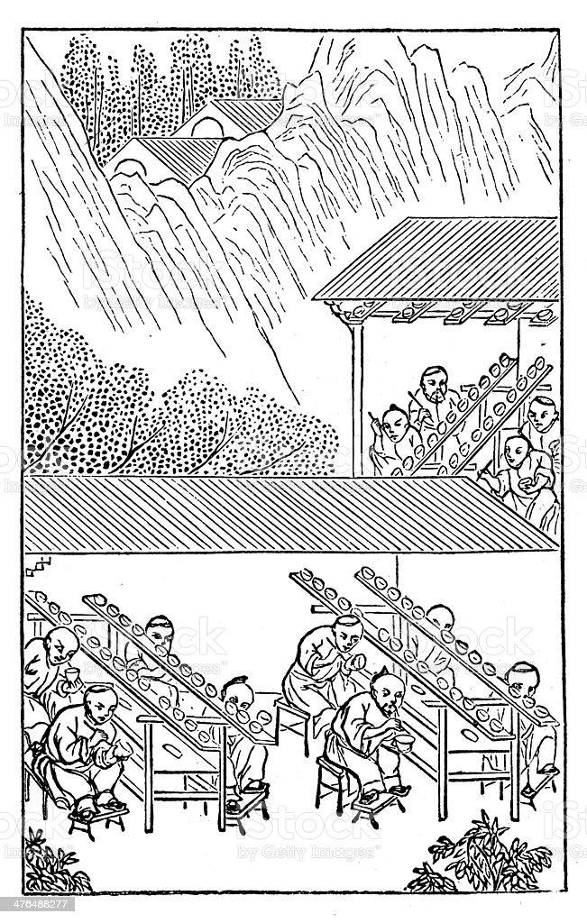 Antique illustration: porcelain production in China (13 of 16 images) vector art illustration