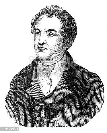 Antique illustration: Portrait of Thomas Moore