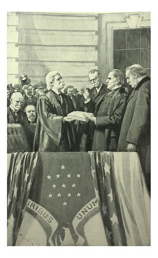 アンティークイラスト ウィリアムマッキンリー大統領が就任宣誓 - 1872 ...