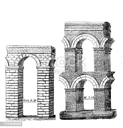 istock Antique illustration: Roman aqueduct 1226968585