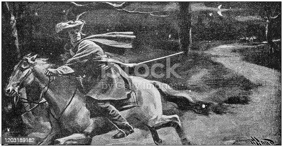 istock Antique Illustration: Running away on horse 1203189182