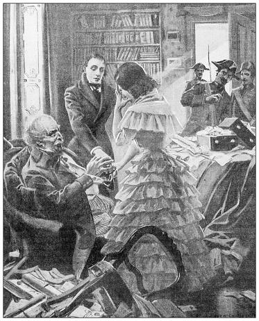 Antique illustration: sad woman arrest
