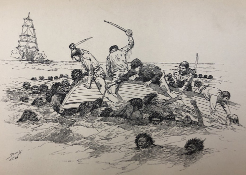 Antique illustration - sailors trying to deter natives from attacking them in their overturned rowboat