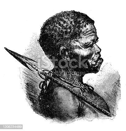 Antique illustration: San man, Bushmen