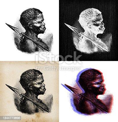 istock Antique illustration: San man, Bushmen 1344773895