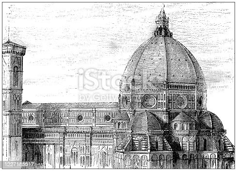 istock Antique illustration: Santa Maria del Fiore, Florence 1227185517