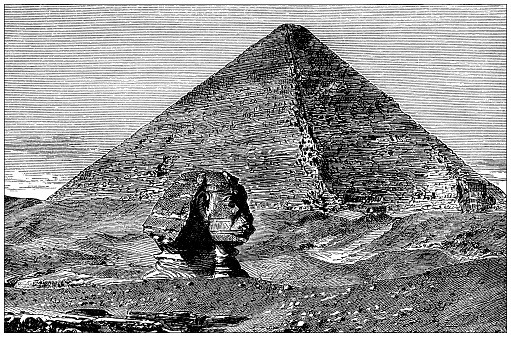 Antique illustration: Sphinx and Great Pyramid of Giza
