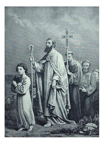 Antique illustration - St. Patrick journeying to Tara