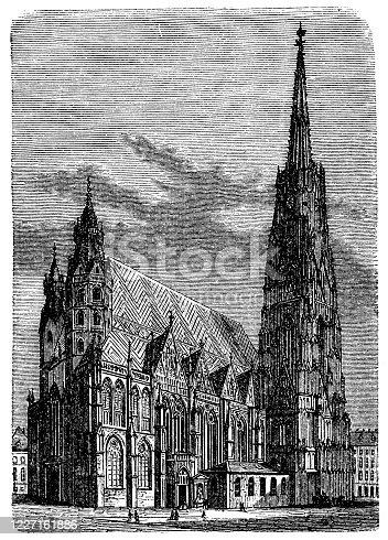 Antique illustration: St. Stephen's Cathedral, Vienna