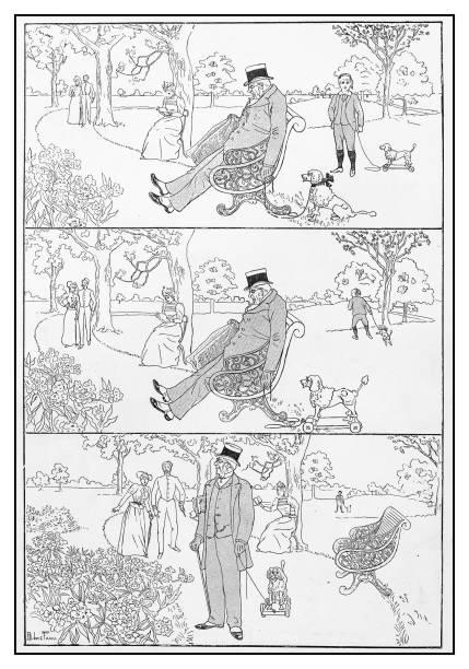 antique illustration: stealing dog - old man funny pictures stock illustrations