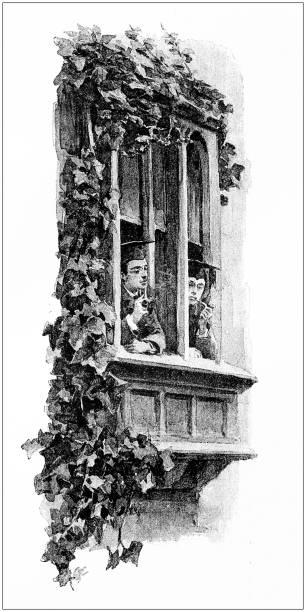 ilustrações de stock, clip art, desenhos animados e ícones de antique illustration: students in oxford - ivy building