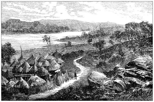 Antique illustration: Sudan, village on the river Nile vector art illustration