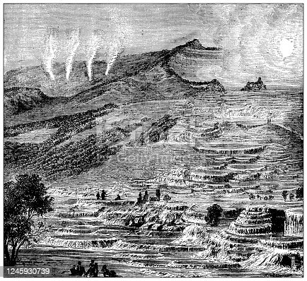 Antique illustration: Te Tarata, New Zealand