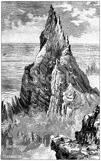 Antique illustration: The Bent Cliff (West coast of Ireland)