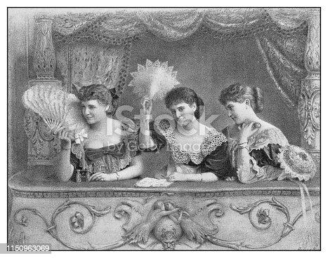 Antique illustration: The opera box