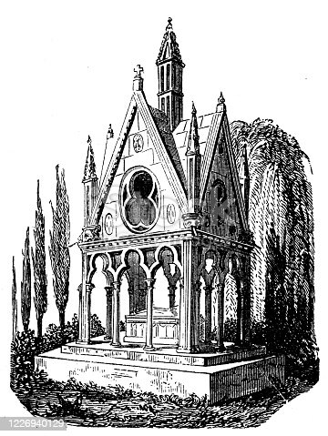 Antique illustration: Tomb of Abelard and Heloise in Père Lachaise Cemetery