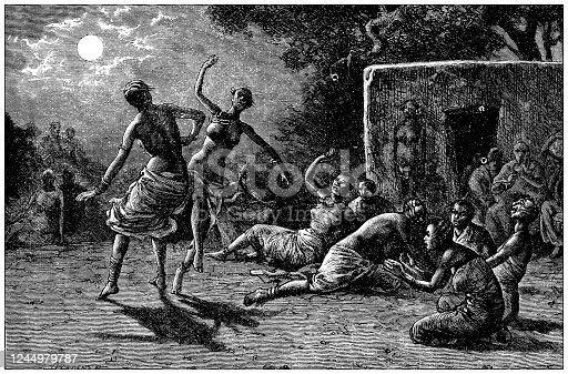 istock Antique illustration: Tribal dance ritual 1244979787