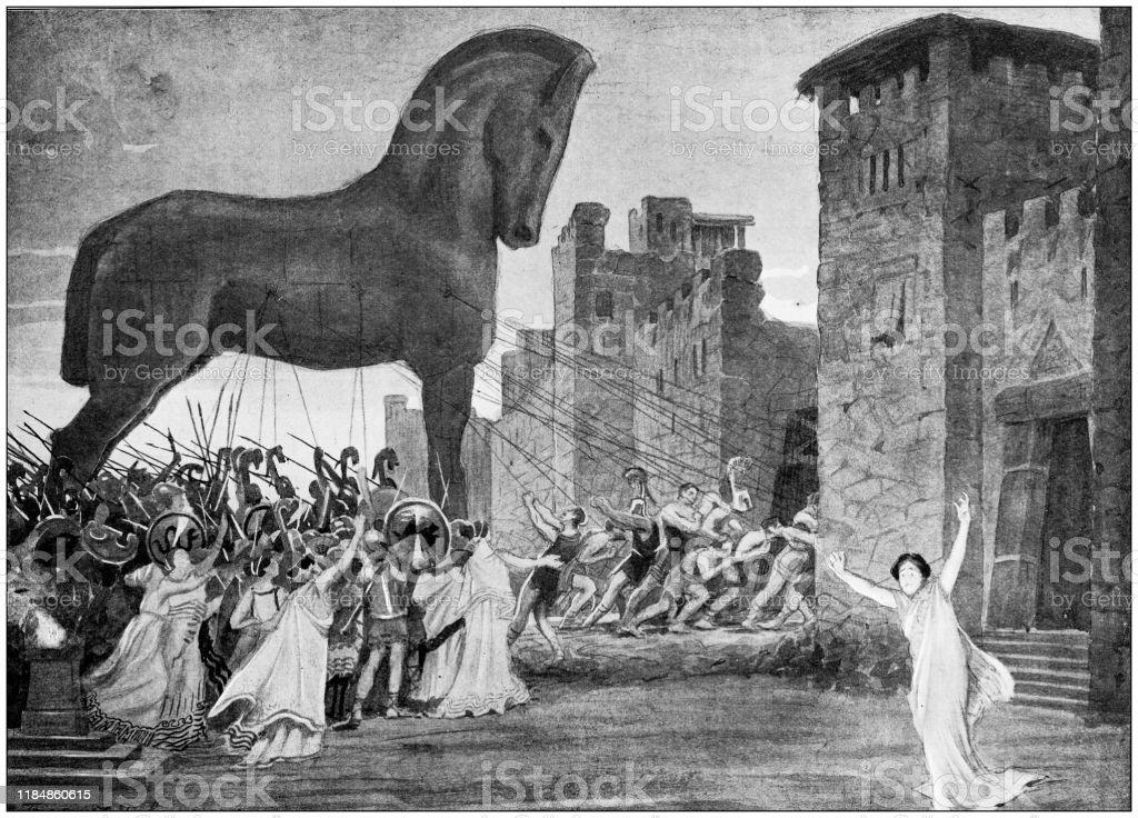 Antique Illustration Trojan Horse Stock Illustration Download Image Now Istock