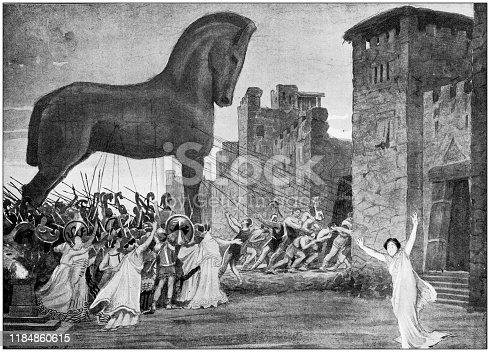 Antique illustration: Trojan Horse