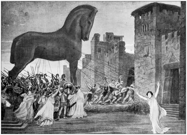 Antique illustration: Trojan Horse vector art illustration
