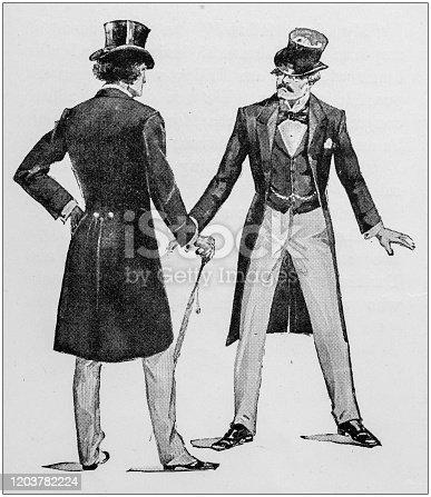 istock Antique Illustration: Two men 1203782224