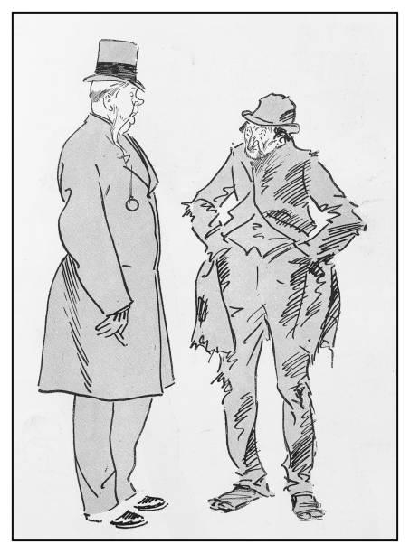 Antique illustration: Two men rich and poor vector art illustration