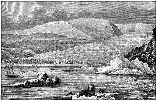 Antique illustration: Tyndall Glacier, Greenland