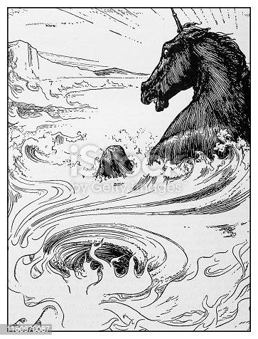Antique illustration: Unicorn drowning