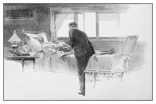 Antique illustration: Visiting sick man